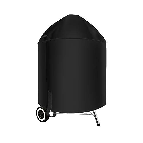 """SunPatio 7150 BBQ Grill Cover, Heavy Duty Waterproof Barbecue Cover for Weber 22 Inch Charcoal Kettle Grills, Outdoor FadeStop Grill Cover, Compared to Weber 7150, 27.5""""Dia x 38""""H, Black"""