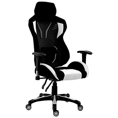 ZHAOJ Gaming-Stuhl, Bequemer Ergonomischer Stuhl, Freizeitsitz, Stoff-Computertischstuhl Mit Armlehnen Und Höhenverstellung,Weiß