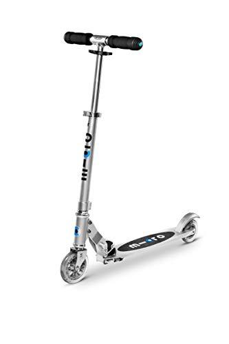 Micro Mobility - Trottinette Sprite Gris Aluminium - Trottinette Enfant compacte et Pliable - Apprentissage de l'équilibre - À partir de 6 Ans