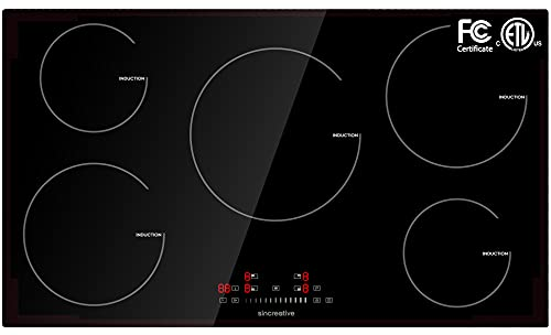 36 Inch Induction Cooktop, Electric Cooktop with 5 Burners Drop-in Electric Stovetop 240V Smoothtop Ceramic Glass Induction Burner with Timer, Kids Lock, 9 Heating Level, ETL & FCC Certificated