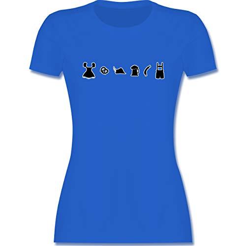 Oktoberfest & Wiesn Damen - Oktoberfest Piktogramme - M - Royalblau - Oktoberfest Damen t Shirt - L191 - Tailliertes Tshirt für Damen und Frauen T-Shirt