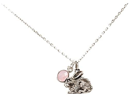 Gemshine Halskette Hase, Osterhase, Kaninchen ROSENQUARZ Anhänger 925 Silber, vergoldet, rose. Kuscheltier aus der Natur. Nachhaltiger Schmuck Made in Spain, Metall Farbe:Silber