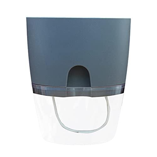 Germplasm Macetero de agua de riego automático, de plástico de doble capa, maceta inteligente maceta de doble capa que absorbe el agua, macetas transparentes para oficina, maceta perezosa