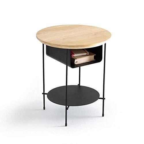 XBR Kaffee-Snack-Tisch, Tische Schlafzimmer-Nachttisch mit Schubladen, Massivholz-Schrank, Eisen-Sideboard, schwarzer Couchtisch Farbe: Schwarz, Größe: 15.7415.7418.89in