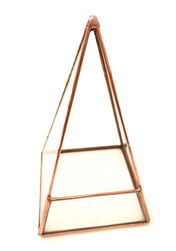 Pyramid Terrarium/géométrique en verre Pot de fleurs/pot de fleurs moderne/fait à la main en Angleterre Mega Cuivre clair