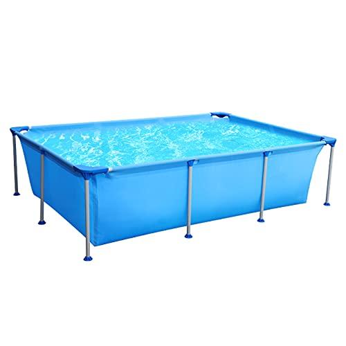 Piscina cuadrada Sekey, piscina de jardín de verano, piscina desmontables de metal 258 x 179 x 66 cm - Azul