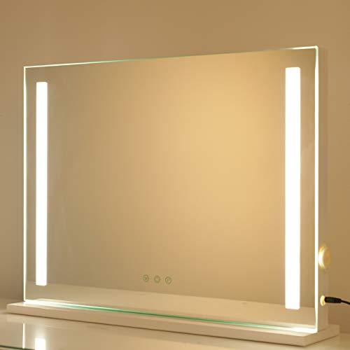 DAYU Hollywood-Stil Tischspiegel Speigel mit Beleuchtung Kosmetikspiegel Schminkspiegel Theaterspiegel mit Licht 3 Farbtemperatur dimmbare LED
