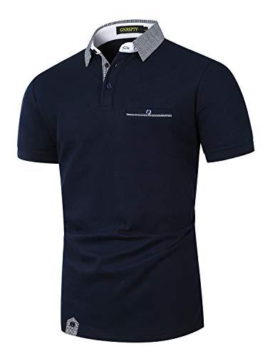 GNRSPTY Polo Uomo Manica Corta Cotone con Tasca Reale Casual Golf Tennis Camicia Plaid Collare,Marina,L