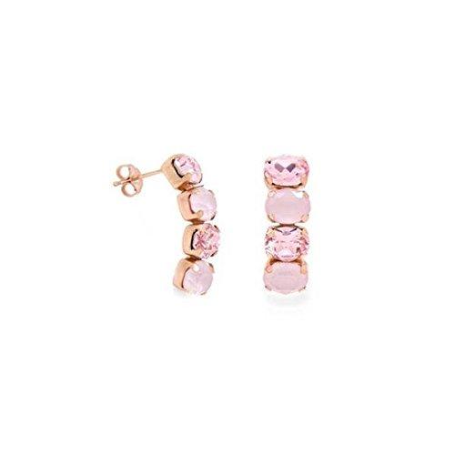 Pendientes Victoria Cruz con baño de oro rosa y 4 Ovalos A3294-86T