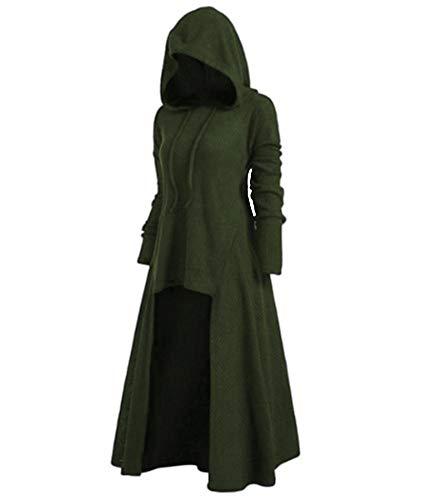 HAHAEMMA Sudadera de otoño asimétrica con dobladillo y bolsillos, parte delantera corta y trasera larga, con capucha, talla grande A-verde. XXXXL