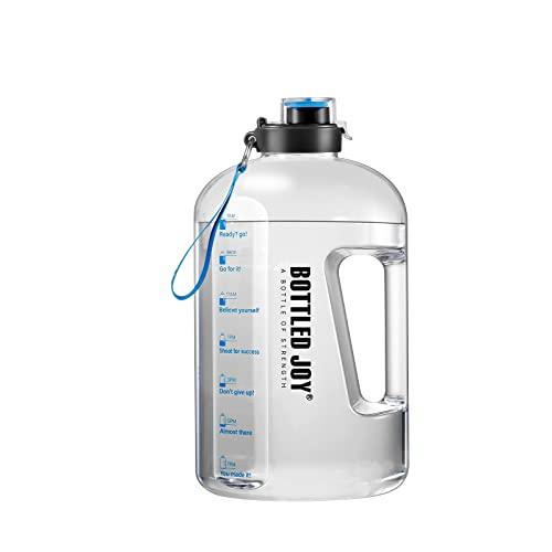 GHONLZIN Water Bottle, 1 Gallon Sports Bottle mit Zeitmarkierungs-Tracker Drink Bottle Wasserflasche mit Fruchteinsatz für Sportler (1 Gallon/169OZ)