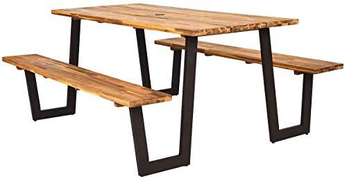 Mesas de picnic, bancos agujero del paraguas set, bancos al aire libre conjunto de mesa con dos 70 pulgadas (177,8 cm),A