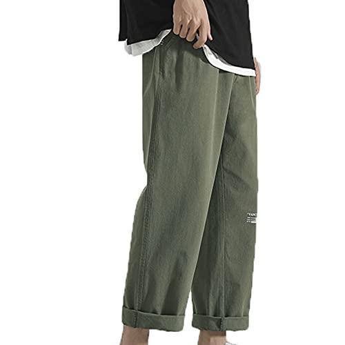 Pantalón Largo de salón para Hombre, Monos de Verano, cómodos Pantalones Anchos y Rectos, Pantalones Holgados y recortados