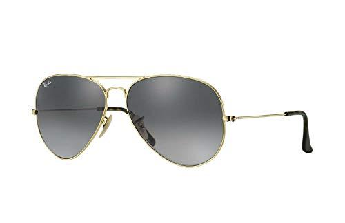 Gafas de sol unisex metálicas grandes de estilo aviador Ray-Ban RB3025 con lentes de color en degradado, (Marco Dorado/Lente Gradiente Gris Claro 181/71), Medium