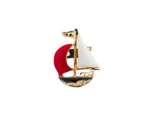 Knighthood メンズ かわいい帆船ラペルピンバッジコートのスーツの襟アクセサリーブローチ 赤