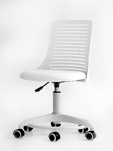 Office Factor Kid's Chair- Adjustable Height Office School Children Desk Chair- Revolving Chair with Wheels- Breathable Back Chair for Kids, Holds up to 175 Lbs – Color White