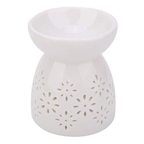 HERCHR Bruciatore Oli Essenziali Diffusore di Oli Essenziali Ceramica per Scaldacera Lampada Profumata per la Casa Decorazione Romantica Bianca