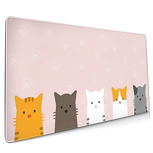 Cute Cat Design Extended Mouse Pad 35.4x15.7 Inch XXL Mew Cartoon Cats Pink Non-Slip Rubber Base Large Gaming Mousepad Stitched Edges Waterproof Keyboard Mouse Desk Pad for Office Home