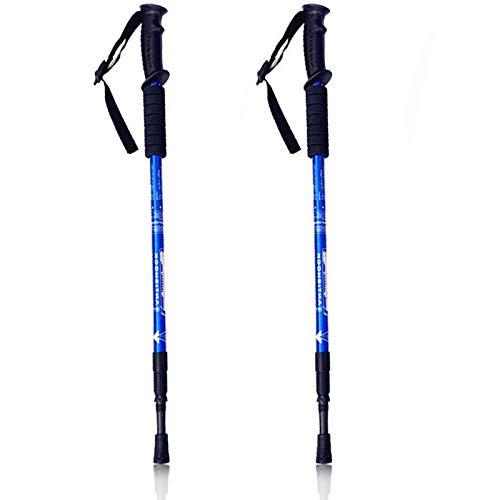 Walking Stöcke Teleskop Wanderstöcke verstellbar 65-135cm, hochwertige Qualität, Superleicht, stoßgedämpft Nordic Walking Stöcke für Herren & Damen, Farbwahl (Blau)