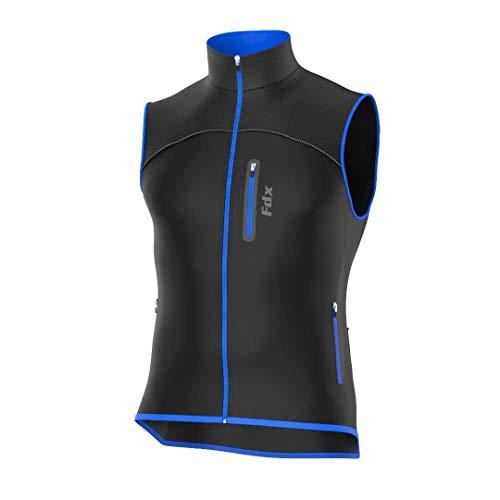 FDX - Gilet da ciclismo da uomo, traspirante, antivento, in softshell, Uomo, nero/blu., XL