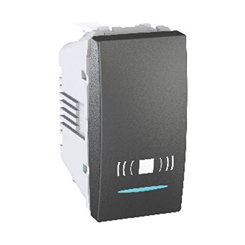 Pulsador de timbre, con símbolo, con localización led, 1 módulo, 10A, color grafito (Schneider Electric MGU3.106.12CN)