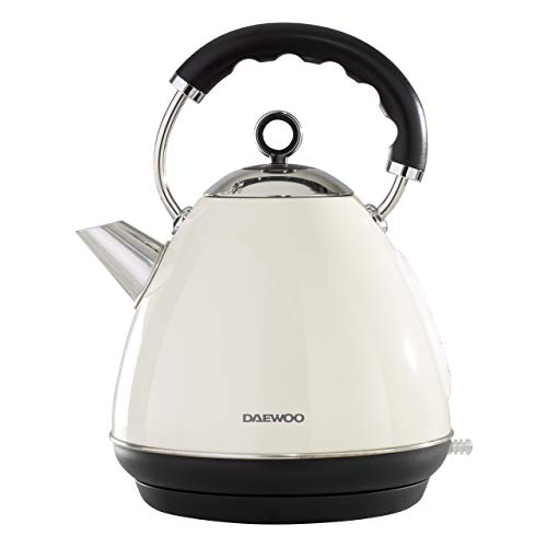 Daewoo SDA1576 Kensington Pyramid 1.7L Capacity Stainless Steel Kettle (3000W Power) with Cordless Rotational Base and Concealed Heating Element, Space Saving Cord Storage and LED Indicator- Cream