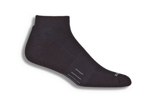 Wrightsock Double Layer Fuel Low Quarter Socks (Small, Black/Black)