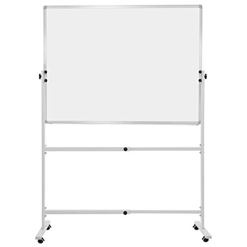 Finefurniture Mobile Magnetic Whiteboard Dry Erase Board (48' X 36'), Height and Angle Adjustable Feature Including 1 Eraser, 2 Markers and 6 Magnets
