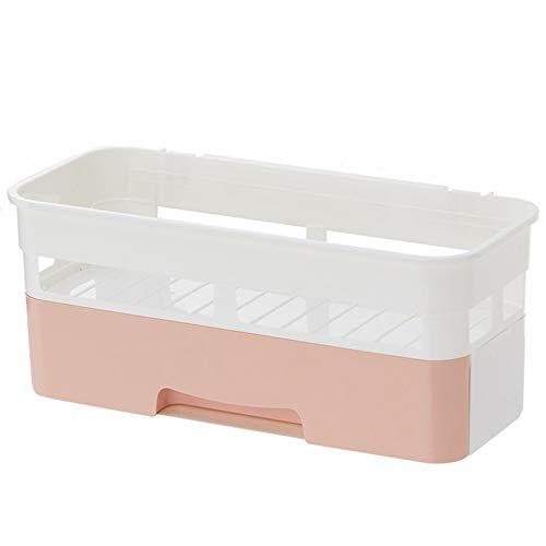 Estantes flotantes Estantería de baño montado en la pared libre de la perforación de almacenamiento higiénico caja de almacenamiento de almacenamiento de tocador parrilla plana colgando de doble uso