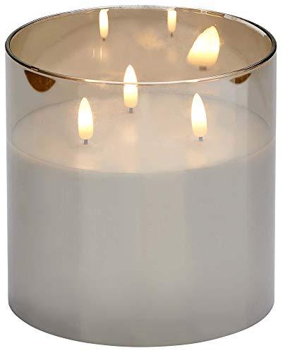 Northpoint LED Echtwachs Kerze im Glas flackernd warmweiß mit integriertem Timer Batteriebetrieben (Grau)