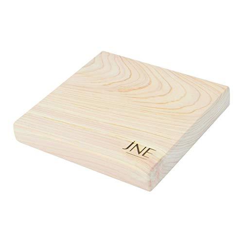 JNE Natural Hinoki Cypress Wood Cutting Board, Chopping Board, Serving Board (7L x 7W x 1.2H inch)