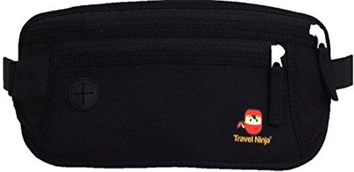 Preisvergleich Produktbild %Aktion% Premium Bauchtasche Gürteltasche Hüfttasche - Schütze Deine Wertsachen - Extra flach für Damen Herren Kinder / Travel Ninja Reise-Bauchtasche im Urlaub - Schwarz