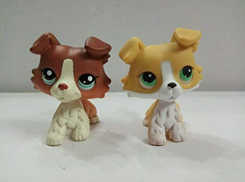 2pcs Littlest pet Shop Collection LPS#1542#272 Red&Yellow White Collie Dog Puppy