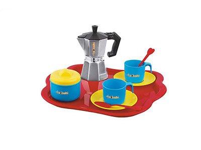 Vetrineinrete® Set caffettiera Giocattolo con 2 Tazze Vassoio piattini cucchiai e Porta Zucchero Giochi per Bambine e Bambini 10 Pezzi Idea Regalo