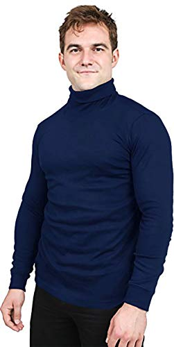 Utopia Wear Special Comfort Fit Turtleneck T-Shirt - Premium Cotton Blend Fabric - Long Sleeves - Machine Washable and Ultra Comfortable - Attractive and Trendy, Large (Navy)