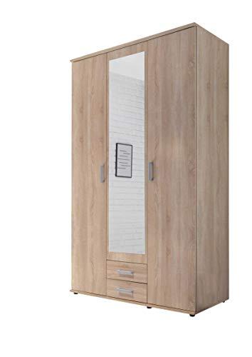 AVANTI TRENDSTORE - Kalle - Armadio ad Ante a Battente con Specchio nel Centro e con 2 cassetti in Legno Laminato, Disponibile in 2 Colori Diversi, Dimensioni: Lap 120x195x55 cm (Marrone)