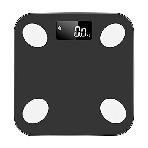 JSJJAUJ Corporal Báscula Bluetooth Smart Bathroom Escalas de Piso Peso Corporal Escala de Grasa Digital (Color : Black)