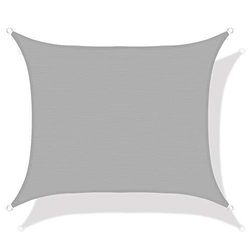 LOVE STORY Toldo Vela de Sombra(HDPE) Rectangular 3×4m Gris Protección UV para Terraza Camping Jardín al Aire Libre