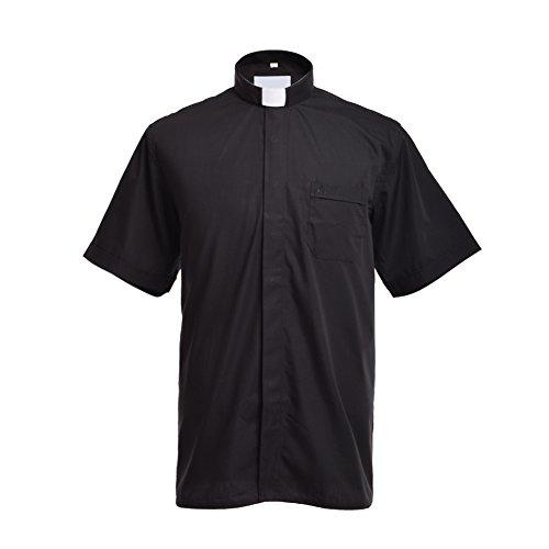 BLESSUME Klerus Hemd mit Kragen Tab Kurzarm Hemd Priester Hemd mit Tab-Kragen Schwarz Unisex(38)