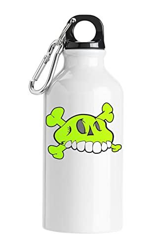 Green Monster Comic Style Skull Bottiglia d'acqua turistica Bianca 500ml