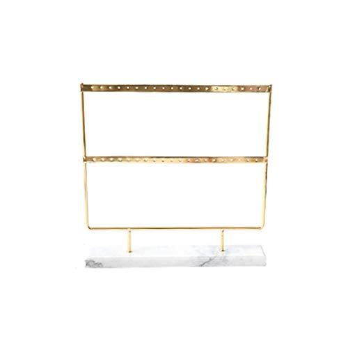 Soporte de joyería Exhibición del organizador del sostenedor del pendiente de 44 agujeros, estante del soporte de la joyería de 2 capas del metal que cuelga con la base de mármol Adornos ( Color : B )
