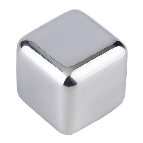 YKSO 1 pieza reutilizable 304 2,5 cm x 2,5 cm x 2,5 cm acero inoxidable enfriador piedras cubitos de hielo enfriadores bebidas herramientas de refrigeración física
