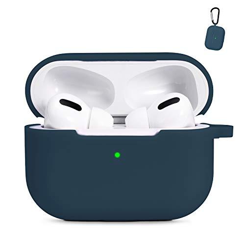 AKABEILA Airpods Pro Hülle Case, Kompatibel mit Apple AirPods Pro Silikon Schutzhülle [Front LED Sichtbar & Kabelloses Laden] Flüssiges Silikon Gehäuseabdeckung Air Pods Pro Schutz Hüllen, Blau