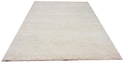 Original Berber Teppich 1 Weiss 15/15 S (ca. 45.000 Florfäden/m2), handgeknüpft in Marokko, Material: 100% Schurwolle (60 x 90 cm)