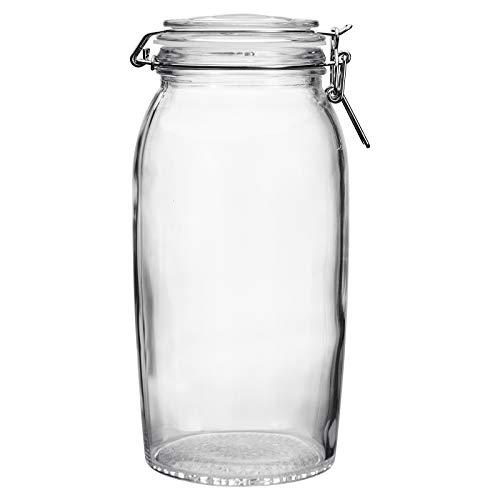 Tarros de vidrio con tapas de clip en la parte superior,tarros herméticos de almacenamiento de mermelada de vidrio – Tarro de conservación de vidrio para pepino,miel,limón y fruta de la pasión
