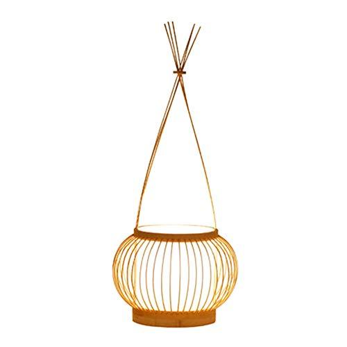 Ye Wang Handgemachte Bambus Tischlampe japanische Rattan Laterne Desktop Lampe rustikal Einfache Schreibtischleuchte Korb Lampenschirm, Schlafzimmer Wohnzimmer Nachttischlampe Leselampe E27