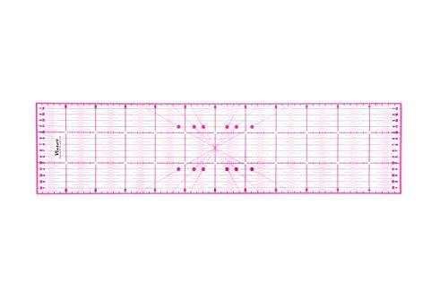 Victor transparentes Lineal 15x60cm in Pink zum Naehen, Basteln, Patchwork und Quilting - Naehlineal