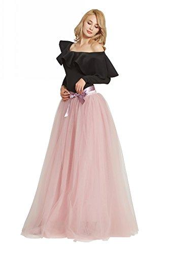 FOLOBE Women's 1950 Vintage Puffy Tutu Skirts Bridesmaid 6 Layers Petticoat Slip