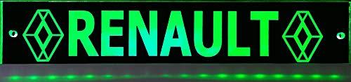 Leuchtschild mit RENAULT - Logo, 60x10 cm ✓ Ideale Geschenkidee ✓ Lasergraviert | Edles LED-Schild als Truck-Accessoire | Beleuchtetes Scania Logo-Schild für den 12/24Volt-Anschluss |