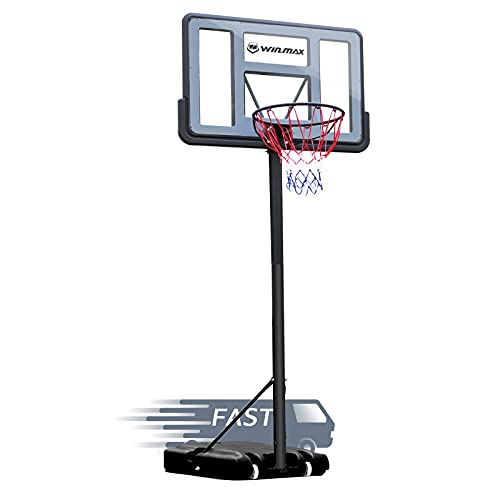 WIN.MAX Portable Basketball Hoop Goal System 5-10ft Adjustable 44in Backboard for Kids/Adults Indoor Outdoor